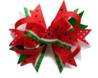 Watermelon hair bow ~ Watermelon hair clip ~ Summer hair clip ~ Melon large stacked boutique hair bow ~ Large watermelon fruit hair bow