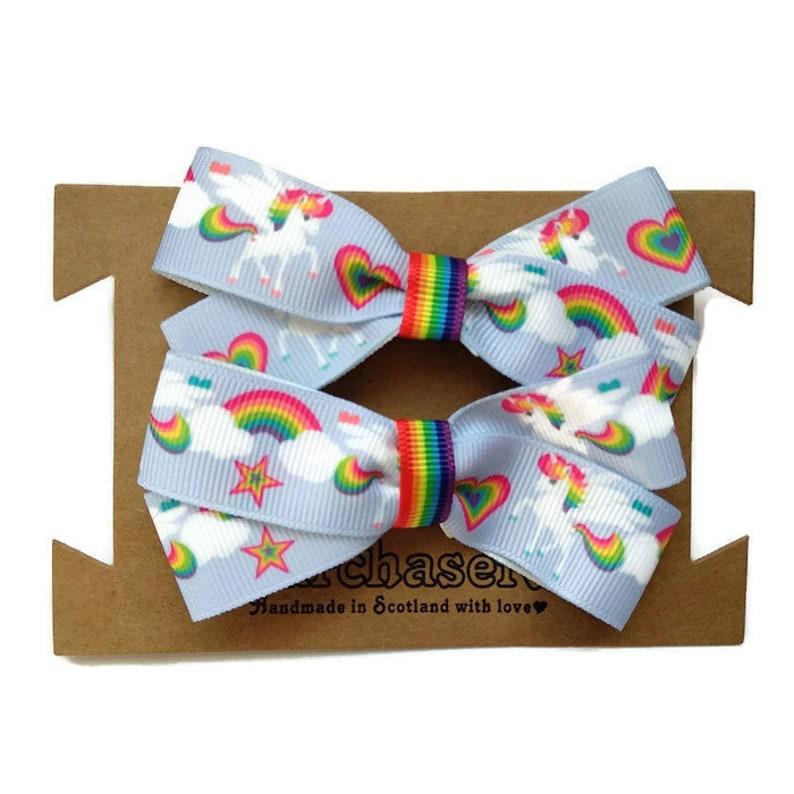 36c57cec2 Rainbow Unicorn hair bows on no snag elastic bobbles. Pack of