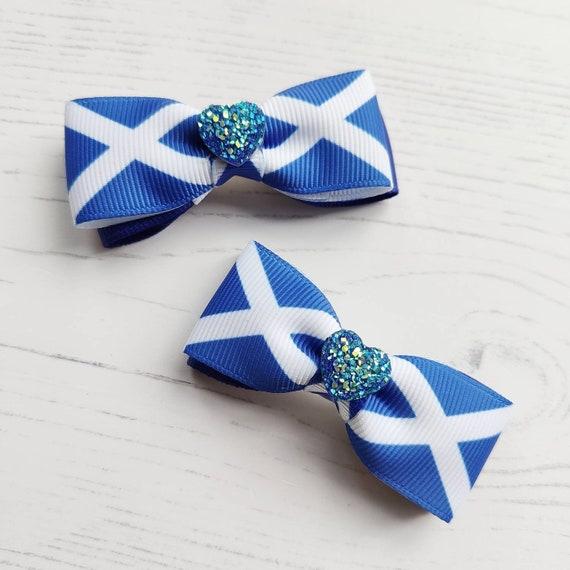 Scotland Flag Saltire Hair Bows Pack of 2