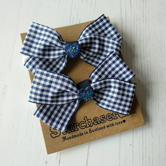 School Handmade Hair Bow Ties ~ Royal Blue /& Gingham Ribbon ~Green//Red available
