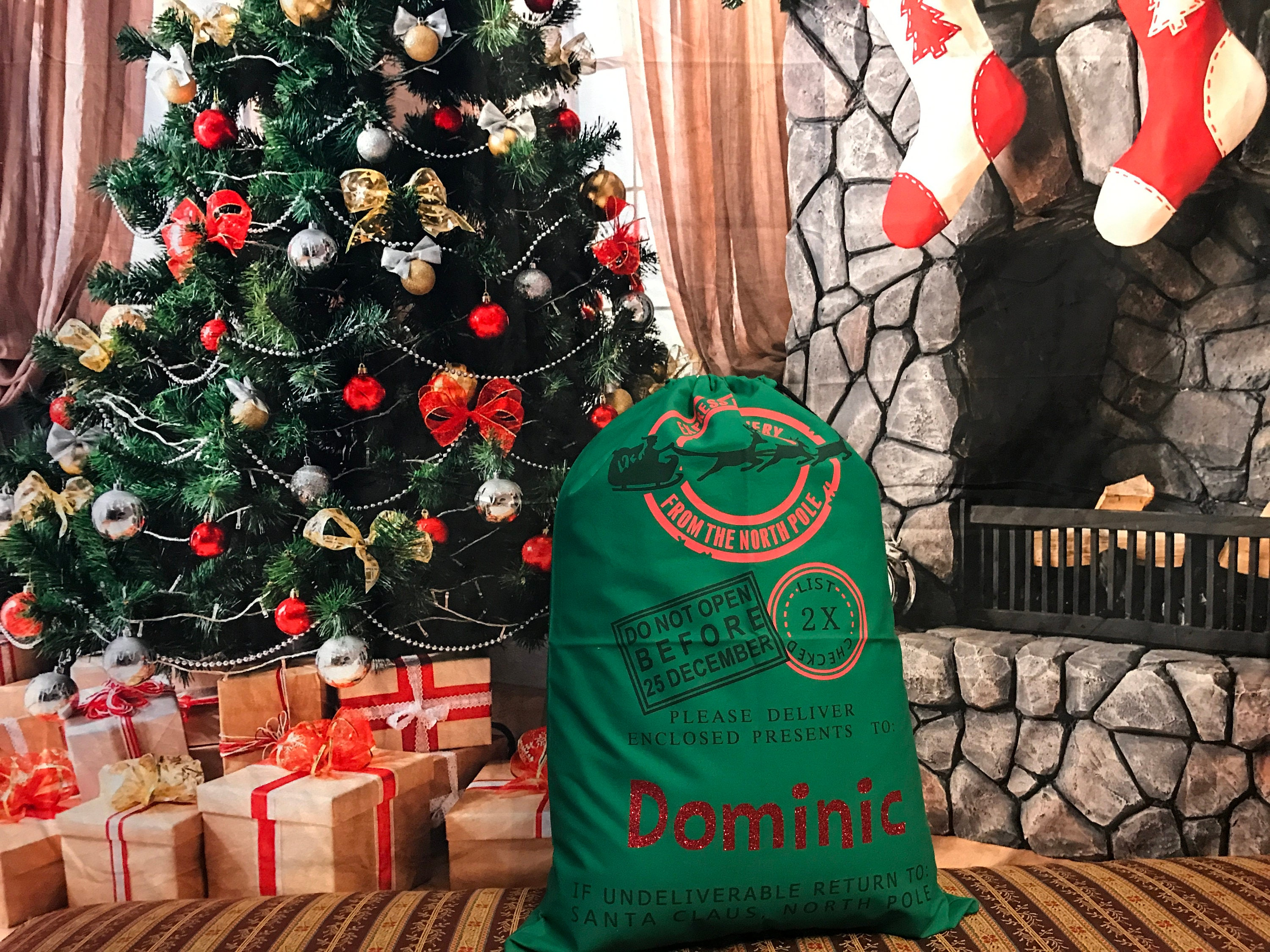 Personalized Green North Pole Delivery Canvas Santa Sack | Etsy