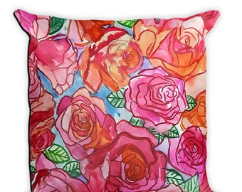 Decorative Pillow, handmade pillow, decorative throw pillow, rose pillow, throw pillow, decorative pillow for couch, watercolor