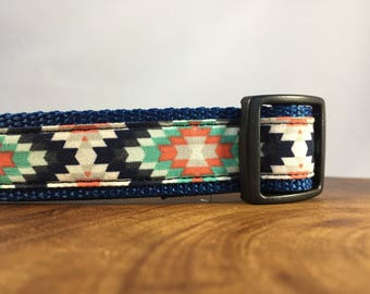 Navy Aztec Dog Collar Southwest Collar for Dogs, Tribal Collar for Male Dog Collar, Puppy Dog Collar Navy, Adjustable Dog Collar Fabric
