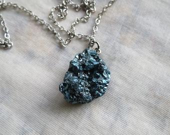 teal titanium quartz cluster necklace
