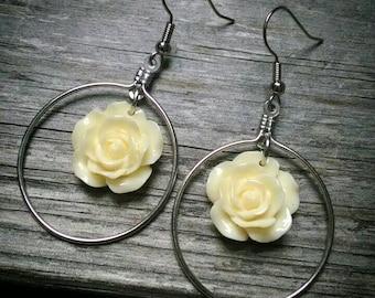 Yellow flower dangle hoop earrings