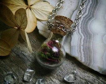 Rose petal and moss mini fairy bottle necklace