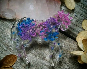 Pink/purple/blue queen Anne's lace resin unicorn