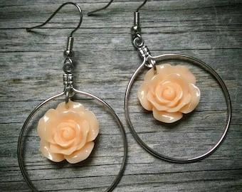 Orange flower dangle hoop earrings