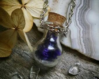 Purple flower mini fairy bottle necklace