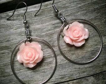 Pink flower dangle hoop earrings