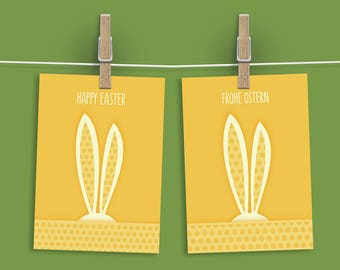 Happy Easter Printable Card, Download Easter Card, Digital Happy Easter Card, Easter Bunny Card Printable, German Easter Card, Frohe Ostern
