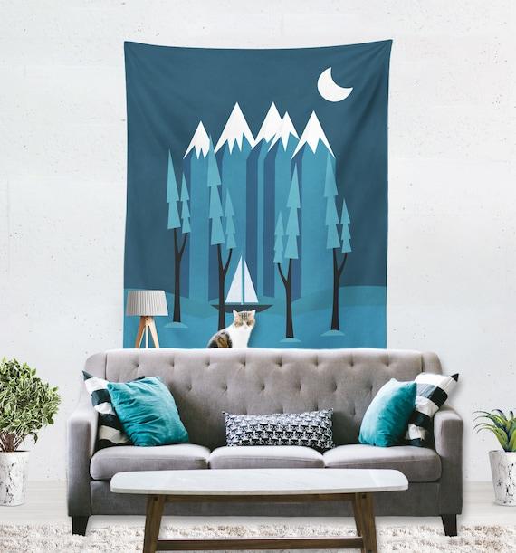 Les enfants montagne tapisserie murale, tapisserie murale tapisserie,  tapisserie de montagne, paysage tapisserie, tapisserie murale moderne,  chambre ...