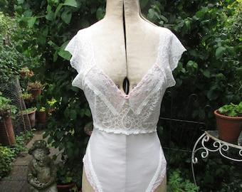 b45a6b4c490 Pretty Feminine Vintage ST MICHAEL Light Cream Sheer Lace Roses Body Teddy  Play Suit - Size 14