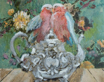 Limited Edition Giclee Print Love Birds Teapot Flowers