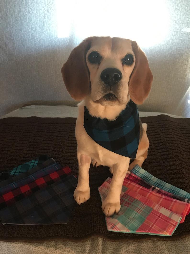 Navy and Orange Plaid Collection Over The Collar Dog Bandana