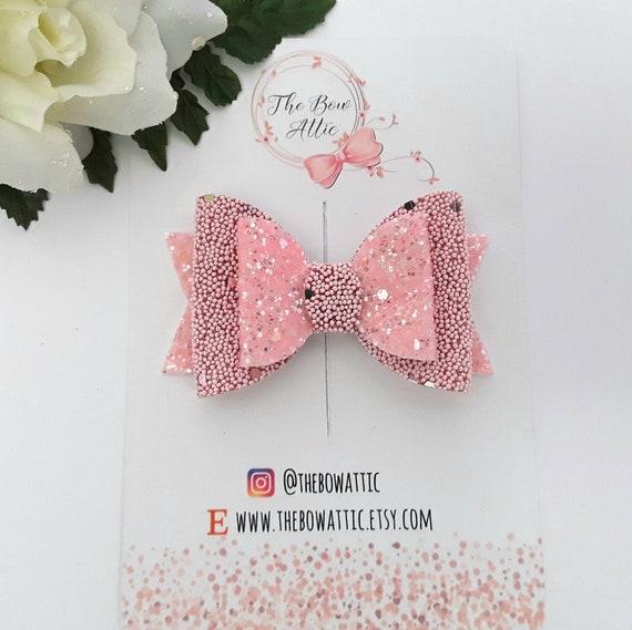 Rose Hair Bow, Pink Glitter Bow, arc de cheveux brillant, Noël noeud, boucles pour les cheveux les filles, bandeaux bébé, boucles pour les cheveux, noeud paillettes