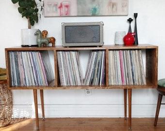 Mid Century Vintage Record Cabinet Custom Maple Handmade Vinyl LP Storage