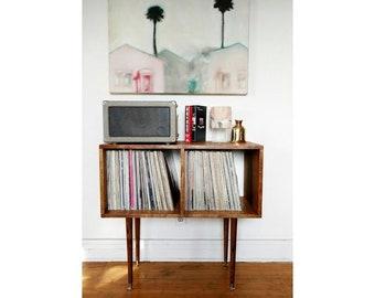 Exceptionnel Petite Mid Century Vintage Record Cabinet Custom Maple Handmade Vinyl LP  Storage