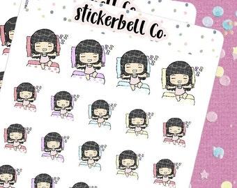 MK001   Good Night Mikaela Stickers, Good Night Planner Stickers, Emoji Stickers, Emoji Planner Stickers, Character Stickers, Stickerbell