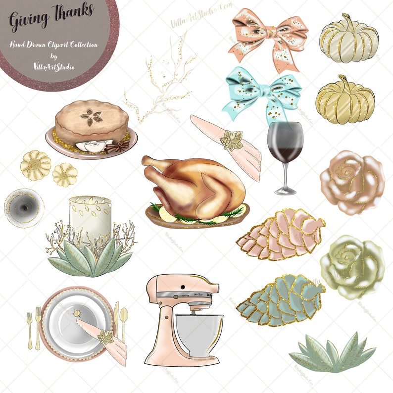 Giving Thanks Clipart Thanksgiving Clipart Thanksgiving Etsy