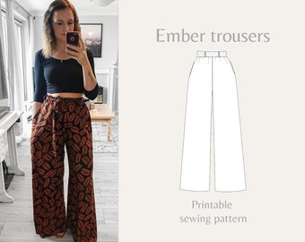 Womens high-waist wide-leg trousers, elasticated waist & pockets | Ember trousers | PDF sewing pattern | A4, US letter, printshop