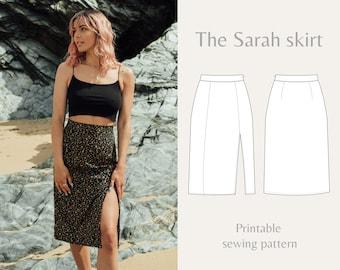 Women's printable sewing pattern | high waist midi skirt | Sarah skirt | Instant Download | UK 4-18/US 0-14 | A4, U.S letter, Printshop