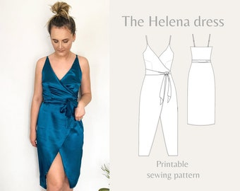 Womens midi wrap dress with adjustable straps and bodice lining | Helena dress | PDF printable sewing pattern | Instant Download