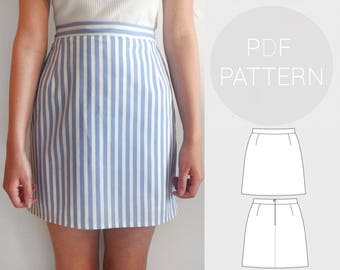 Womens high waisted skirt | PDF printable sewing pattern for woven Fabrics | Instant Download | UK sizes 4-18, US sizes 0-14.