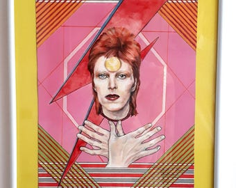 David Bowie. Ziggy Stardust. Printed portrait from the original.