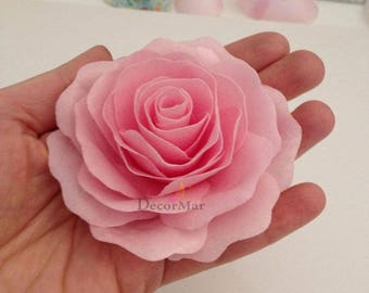 3 Edible Wafer Paper Rose.