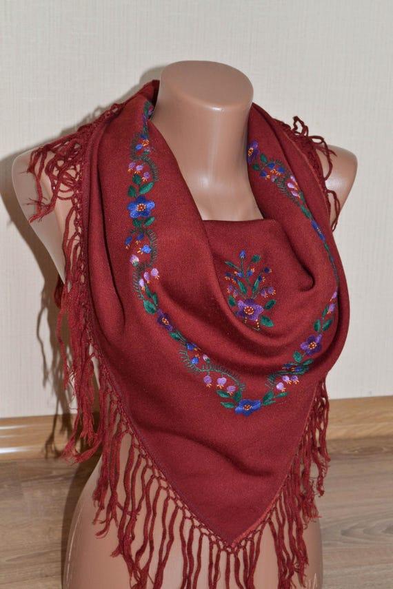 Vintage Ukrainian shawl, Russian shawl, Handmade E