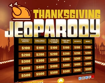 thanksgiving jeopardy trivia powerpoint game mac and pc compatible - Christmas Jeopardy Game