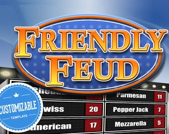 Customizable Friendly Feud Powerpoint Template - Family Feud Style Game show Mac PC and iPad compatible