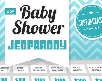 Boy Baby Shower Game - Jeopardy Template Customizable - Boy - Mac PC and iPad compatible editable - Fun