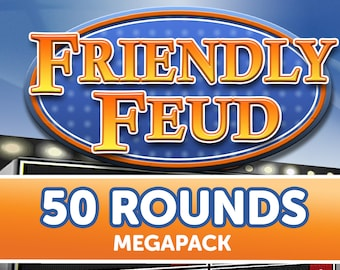 50 Rounds! Customizable Friendly Feud Powerpoint Template - Family Feud Style Game show Mac PC and iPad compatible