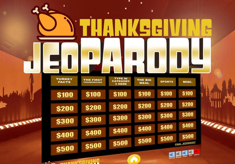 Thanksgiving Jeopardy with Scoreboard - Trivia Fun PowerPoint Game - Mac,  PC, and iPad Compatible