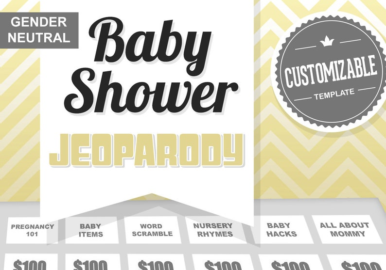 Virtual Baby Shower Game  Gender Neutral  JeoParody Template image 1