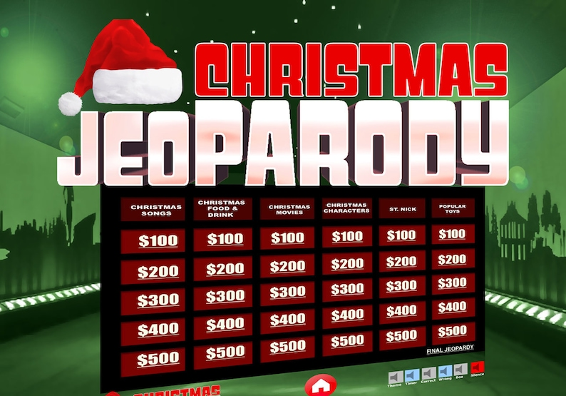 Christmas JeoParody with Scoreboard  Fun Trivia PowerPoint image 0