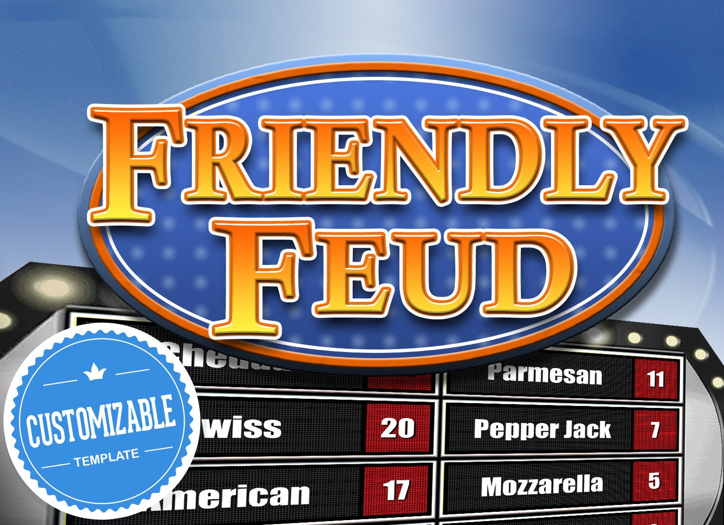 Customizable Friendly Feud Powerpoint Template Family Feud Etsy