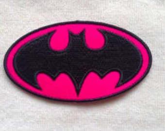 Pink Batman Iron on patch