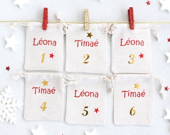 Numbered pooches (x24) for Special Advent Calendar custom siblings with first names
