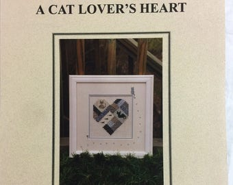 A Cat Lover's Heart Vintage Cross Stitch Pattern