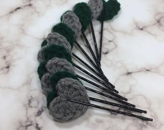 Slytherin Inspired Hair Clips, Harry Potter Inspired Hair Clips, Harry Potter, Crochet Hair Clips, Heart Clips, Harry Potter Accessories