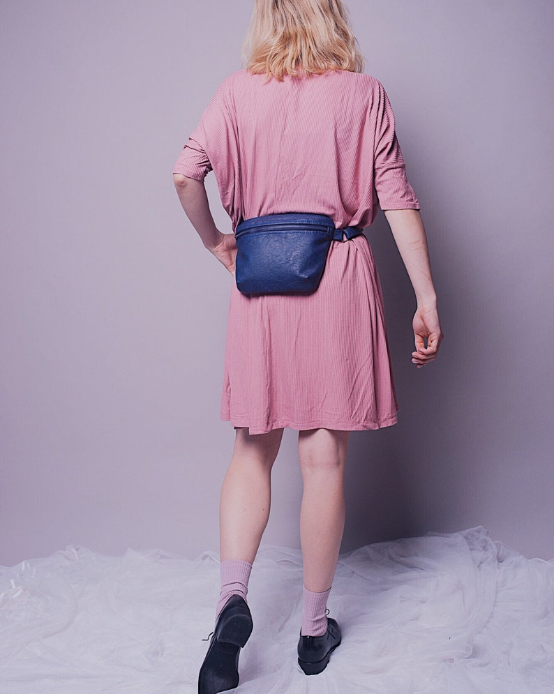 Blue Waist-bag ECO-leather Vegan leather Woman backpack FREE SHIPPING Blue