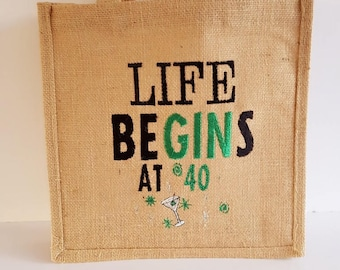 Jute Market Bag, Funny Quote, 30th, 40th, 50th, 60th Birthday gift, Handmade Shopping Bag, Gift, Personalised Shopping Bag, Gin, Alcohol