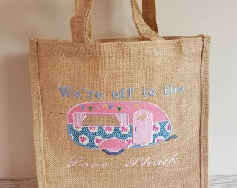 Jute Shopping Bag, Funny Caravan, Caravan Market Bag, Handmade Shopping Bag, Funny Christmas Gift, Personalised Shopping Bag, Caravan quote