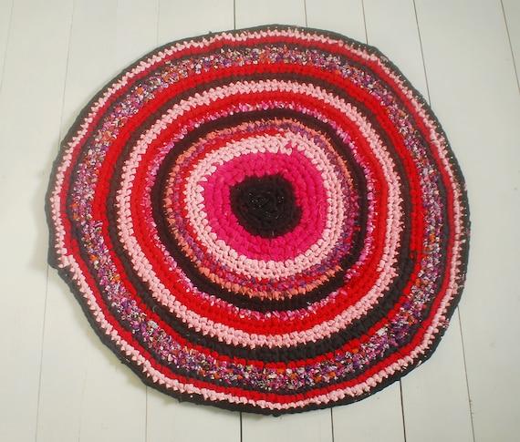 Red And Pink Crochet Rug Handmade Tshirt Rug Ecofriendly