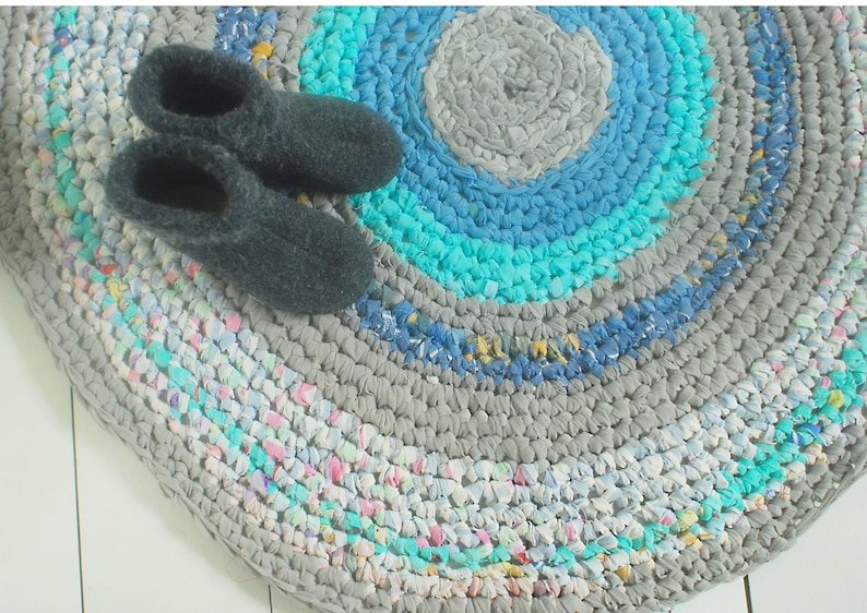 Gehäkelter Teppich, handgefertigten Teppich, Eco-Teppich, Kinderzimmer  Teppich, böhmische Zigeuner Teppich, runder Teppich, Kinderzimmer Teppich,  ...