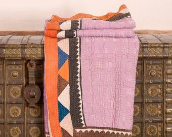 Vintage Indian Geometric Kantha Quilt