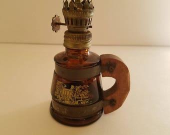 Vintage miniature amber glass kerosene lamp